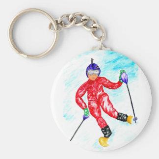 Chaveiro Ilustração do esporte do esquiador