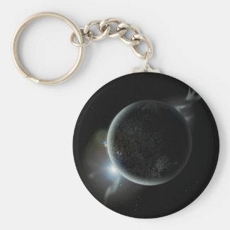 Chaveiro ilustração preta do planeta 3d no universo
