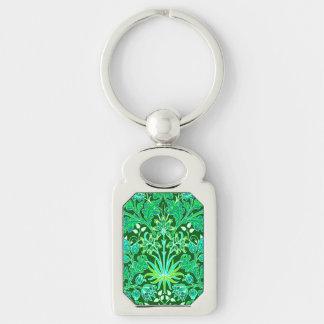 Chaveiro Impressão do jacinto de William Morris, verde
