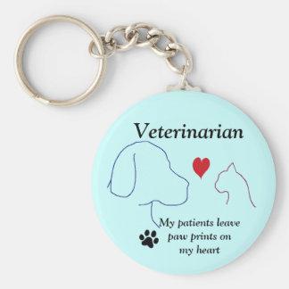 Chaveiro Impressões veterinários da pata em meu coração #2