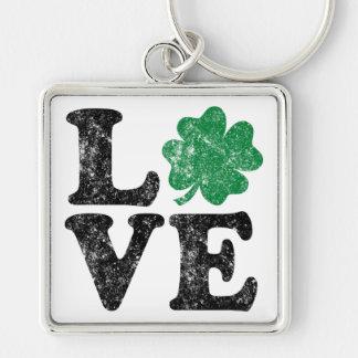 Chaveiro Irlandês do trevo do AMOR do Dia de São Patrício