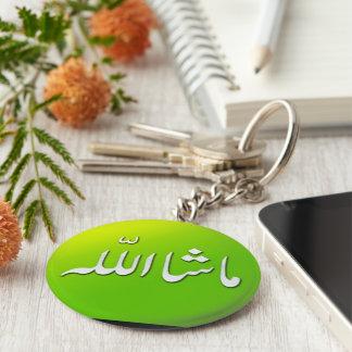 Chaveiro islâmico do keyring de MashAllah no verde