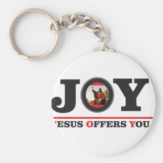 Chaveiro Jesus oferece-lhe a etiqueta da alegria