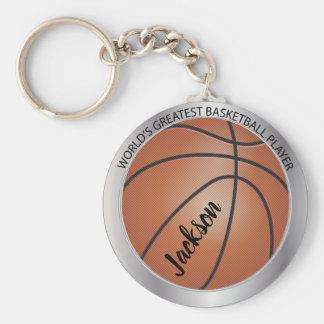 Chaveiro Jogador de basquetebol do mundo o grande - prata