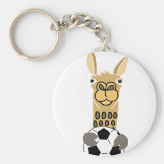 Chaveiro Lama engraçado com arte da bola de futebol