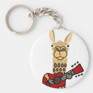 Chaveiro Lama engraçado que joga a guitarra