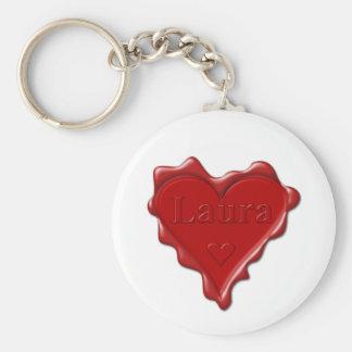 Chaveiro Laura. Selo vermelho da cera do coração com Laura