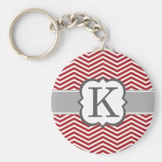 Chaveiro Letra branca vermelha K Chevron do monograma