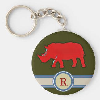 Chaveiro letra conhecida do rinoceronte R