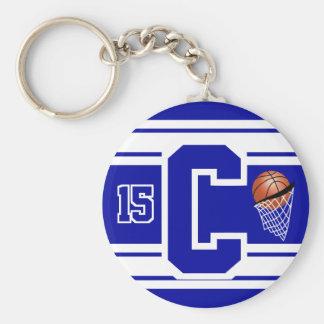 Chaveiro Letra e número do basquetebol - azuis escuro e