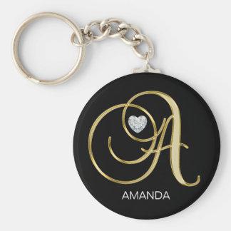 Chaveiro Letra Monogrammed personalizada elegante A do ouro