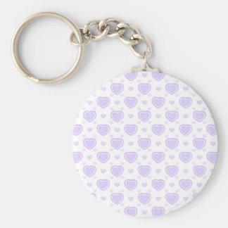Chaveiro Lilac romântico & corações brancos