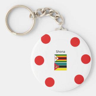 Chaveiro Língua de Shona e bandeiras de Zimbabwe e de