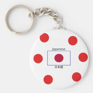 Chaveiro Língua japonesa e design da bandeira de Japão