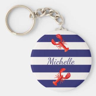 Chaveiro Listras náuticas brancas azuis com lagostas
