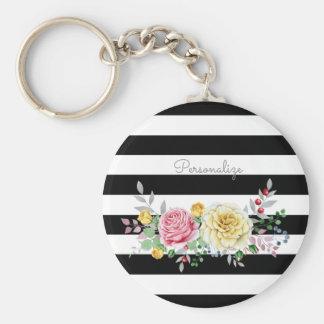Chaveiro Listras pretas na moda florais e nome do rosa do