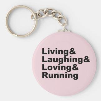 Chaveiro Living&Laughing&Loving&RUNNING (preto)