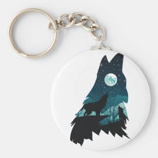 Chaveiro Lobo que urra com floresta