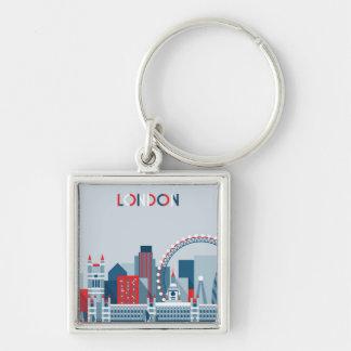 Chaveiro Londres, Inglaterra skyline vermelha, branca e
