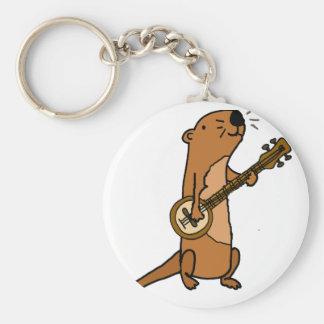 Chaveiro Lontra de mar engraçada que joga o banjo