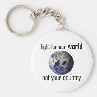 Chaveiro Lute por nosso mundo, não seu keyring do país