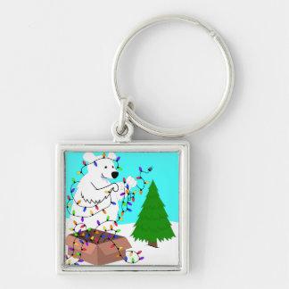 Chaveiro Luzes do urso polar e da árvore