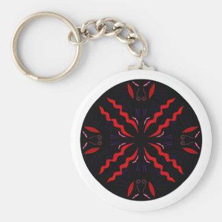 Chaveiro Mandala preta e vermelha do vintage