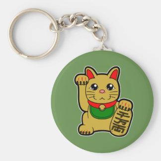 Chaveiro Maneki Neko: Gato afortunado dourado