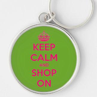 Chaveiro Mantenha a calma e comprar no rosa no verde