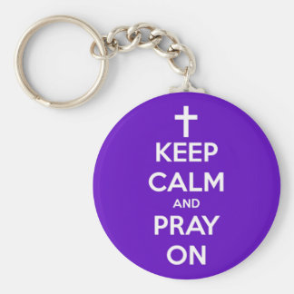 Chaveiro Mantenha a calma e Pray no roxo