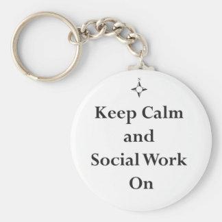 Chaveiro Mantenha o trabalho calmo e social sobre