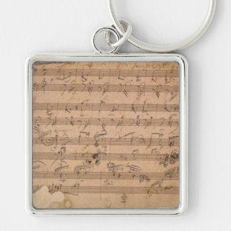 Chaveiro Manuscrito da música da sonata de Beethoven