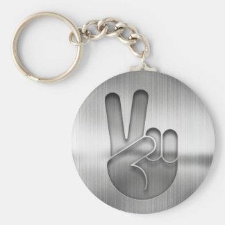 Chaveiro Mão da paz do cromo