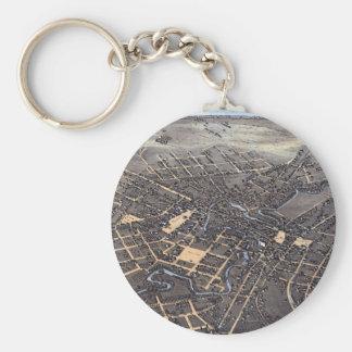 Chaveiro Mapa aéreo antigo da cidade de San Antonio, Texas