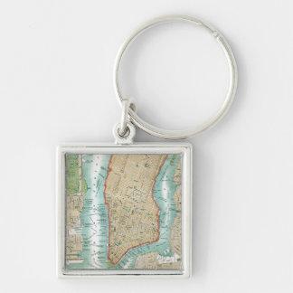 Chaveiro Mapa antigo do Lower Manhattan e do Central Park