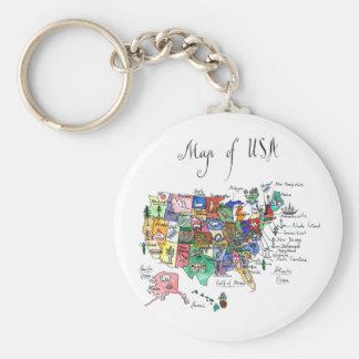Chaveiro Mapa das atrações dos Estados Unidos da América