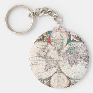 Chaveiro Mapa do mundo antigo do Dobro-Hemisfério