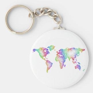 Chaveiro Mapa do mundo do arco-íris