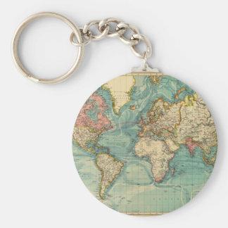 Chaveiro Mapa do mundo do vintage