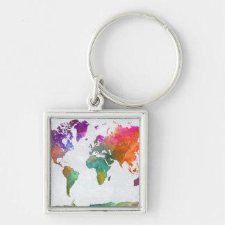 Chaveiro Mapa do mundo na aguarela