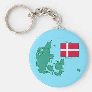 Chaveiro Mapa e bandeira de Dinamarca