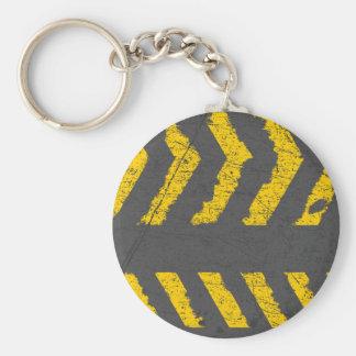 Chaveiro Marcação de estrada amarela afligida Grunge