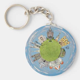 Chaveiro marco pequeno minúsculo do planeta de romania da