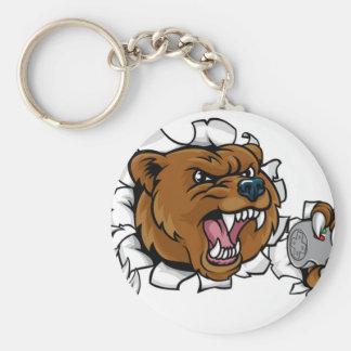 Chaveiro Mascote irritada de Esports do urso