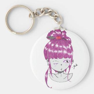 Chaveiro menina adolescente do cabelo cor-de-rosa do chibi