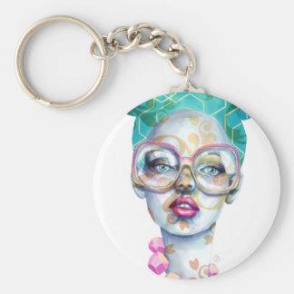 Chaveiro Menina com arte Funky do Watercolour dos vidros