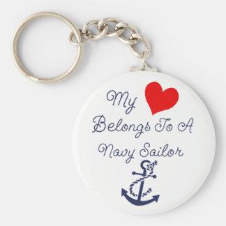 Chaveiro Meu coração pertence a um marinheiro do marinho
