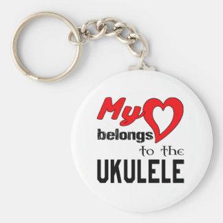 Chaveiro Meu coração pertence ao Ukulele.