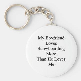 Chaveiro Meu namorado ama a snowboarding mais do que ama