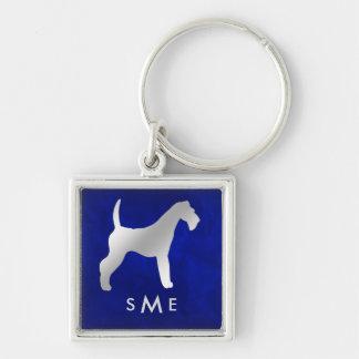 Chaveiro Monograma Airedale de prata azul Terrier